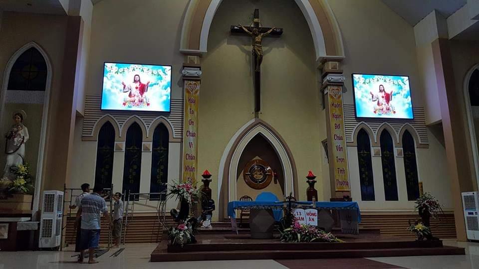 thi công lắp đặt màn hình led cho Giáo Hội